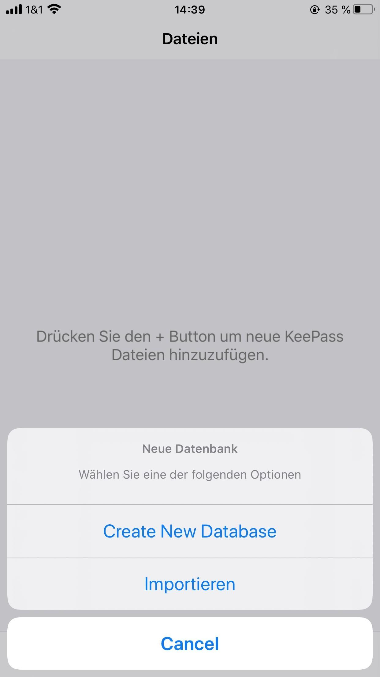 3. Neue KeePass Touch Datenbank anlegen - IOS