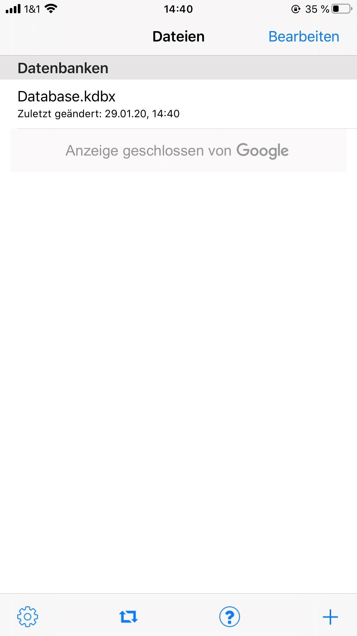 5. Speichern Sie Ihre KeePass Touch Datenbank - IOS - Kostenlose Passwortverwaltung