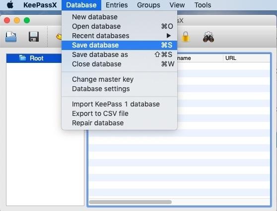 6. Speichern Sie Ihre KeePassX Datenbank - MacOS - Kostenlose Passwortverwaltung