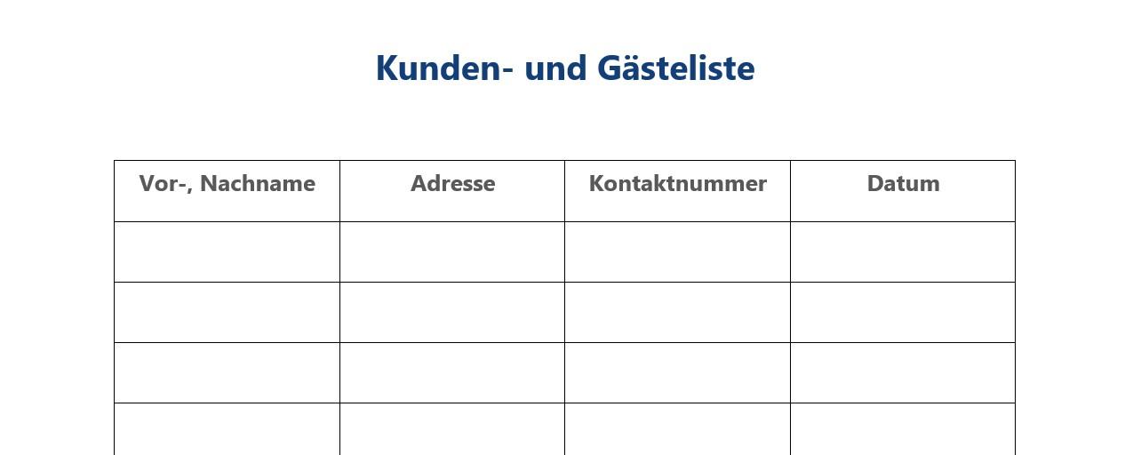 Datenschutzkonforme Kunden- und Gästeliste