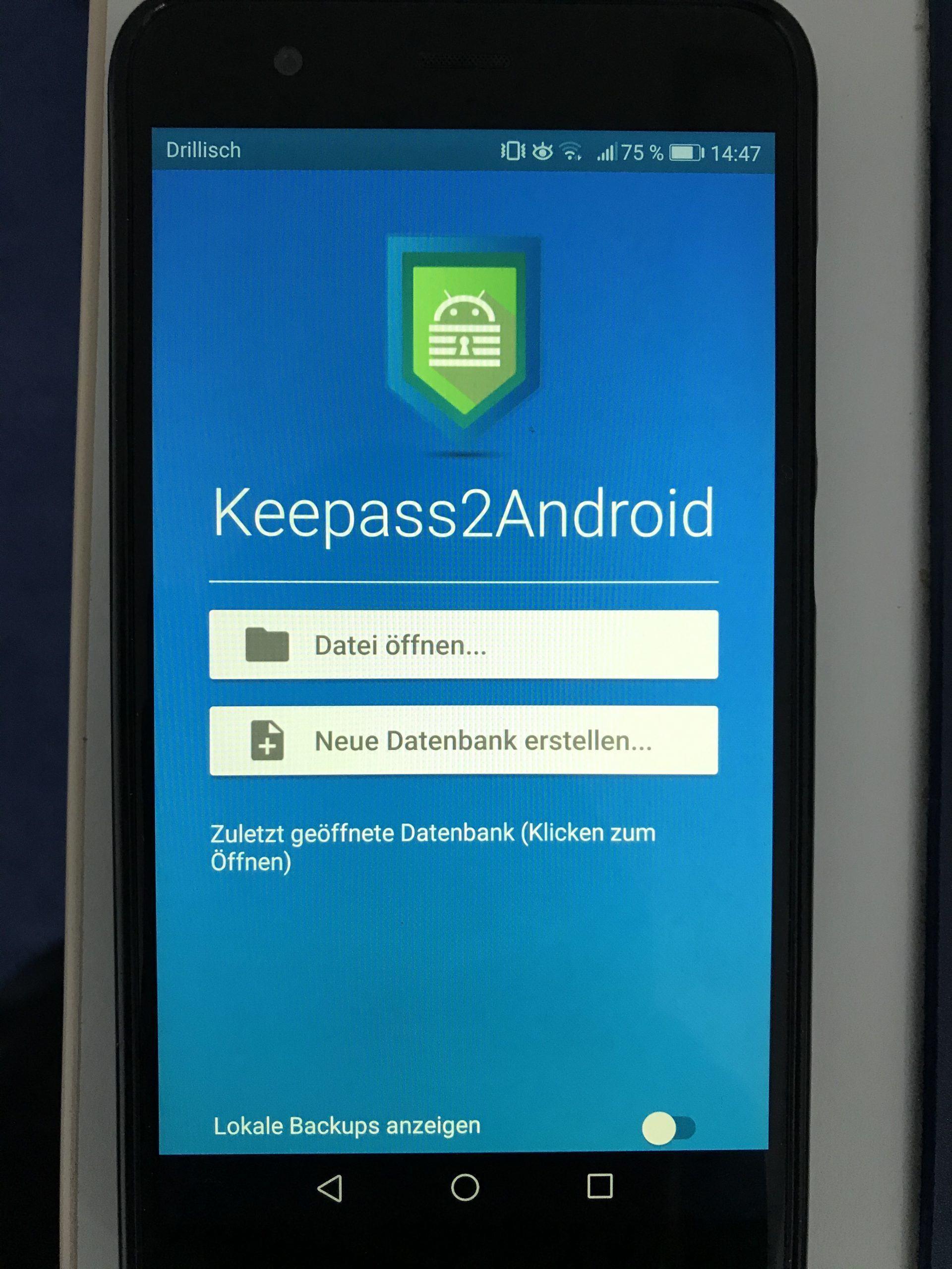 3. Neue KeePass2 Datenbank anlegen - Android