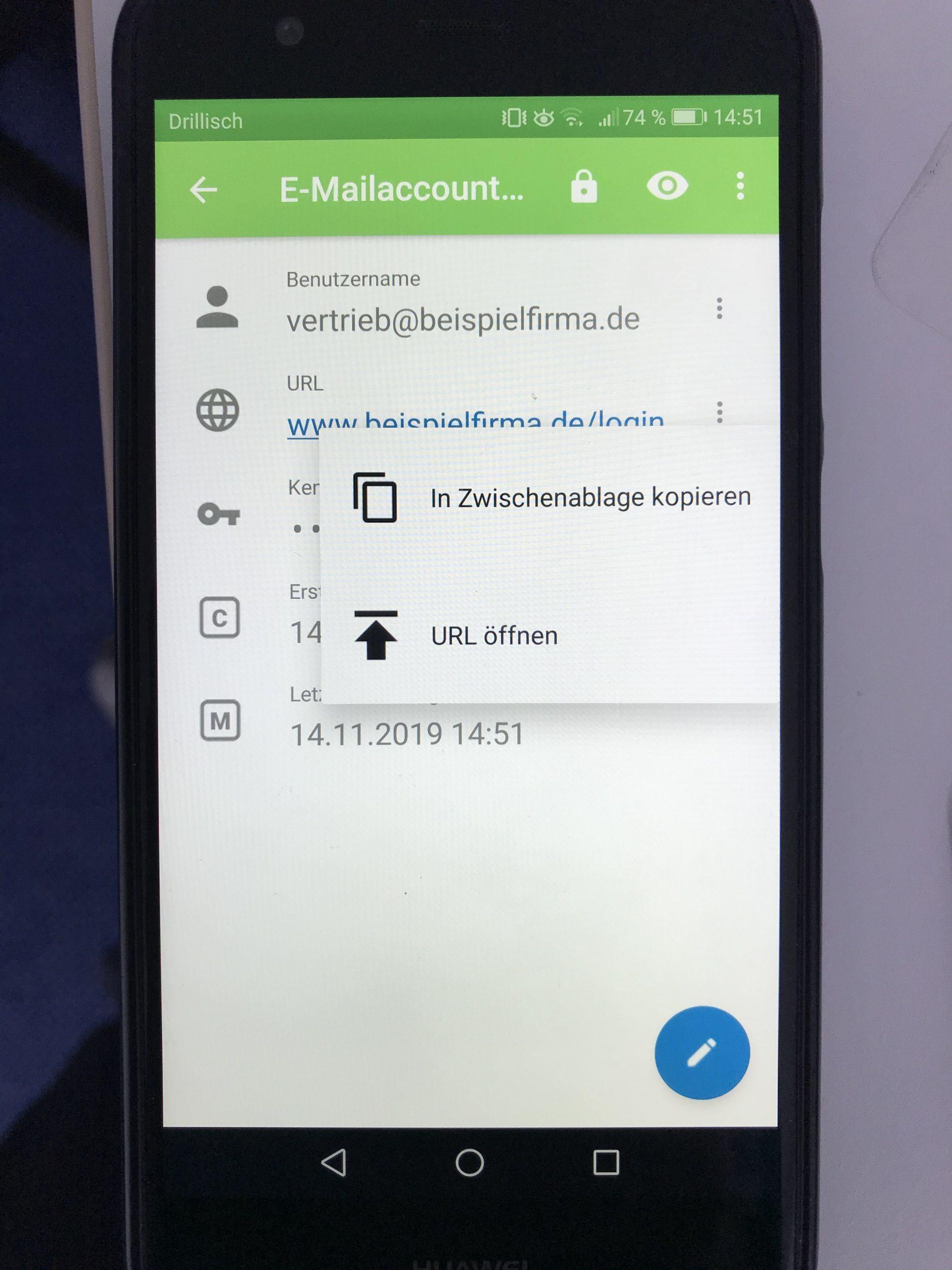 1. URL kopieren KeePass2 - Android