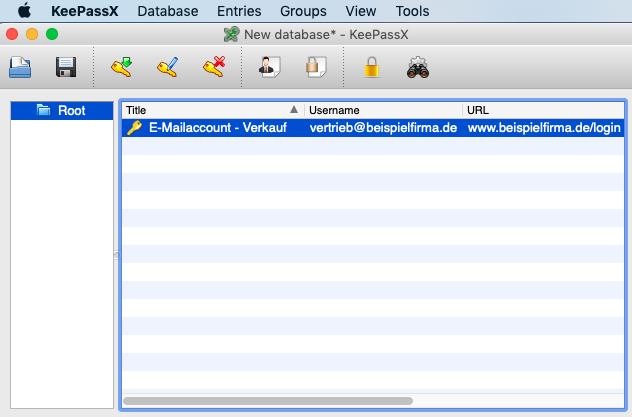 4. Klicken Sie auf OK, um zur Datenbankuebersicht zurueck zu gelangen - MacOS - Kostenlose Passwortverwaltung