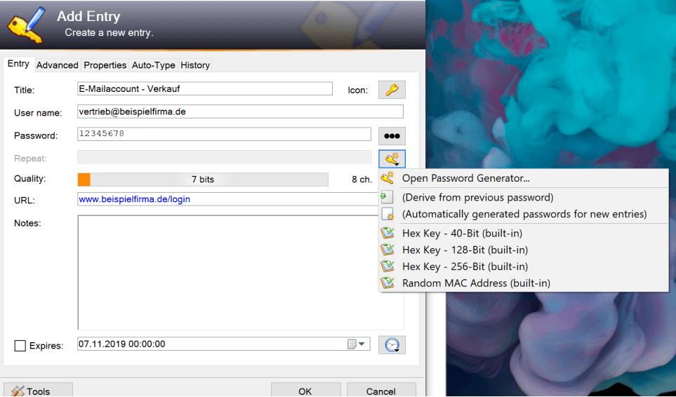 3. Erstellen Sie zufaellige Kennwoerter in KeePass - WIN - Kostenlose Passwortverwaltung