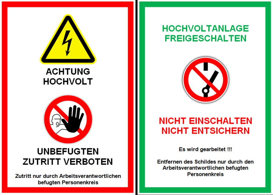 Warnschilder-Hochvoltanlage-Arbeitsplätze-mit-Hochvoltsystemen